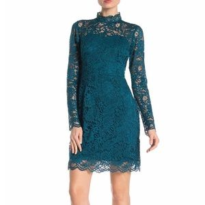 NWT Betsey Johnson - teal Mock Neck Lace Dress